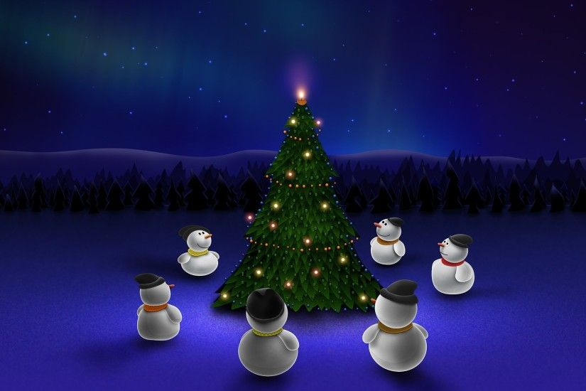 1920x1080 Wallpaper new year, snowman, christmas tree, holiday