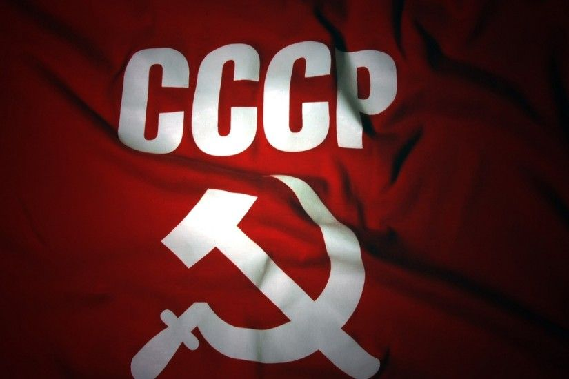 2048x1152 Wallpaper flag, ussr, russia, sickle