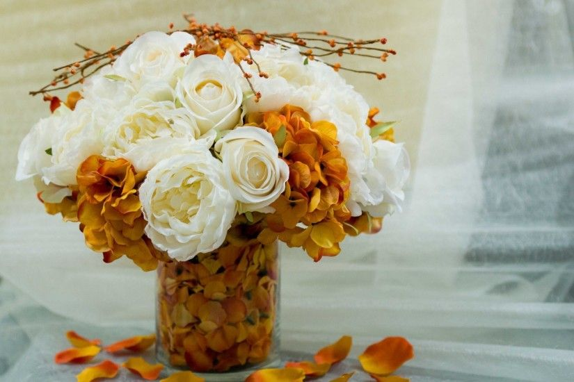 flower flowers bouquet bouquet vase vase petals white orange background  wallpaper widescreen full screen widescreen hd