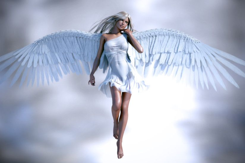 Beautiful angel girl, white clothes and wings Wallpapers Pictures Photos  Images