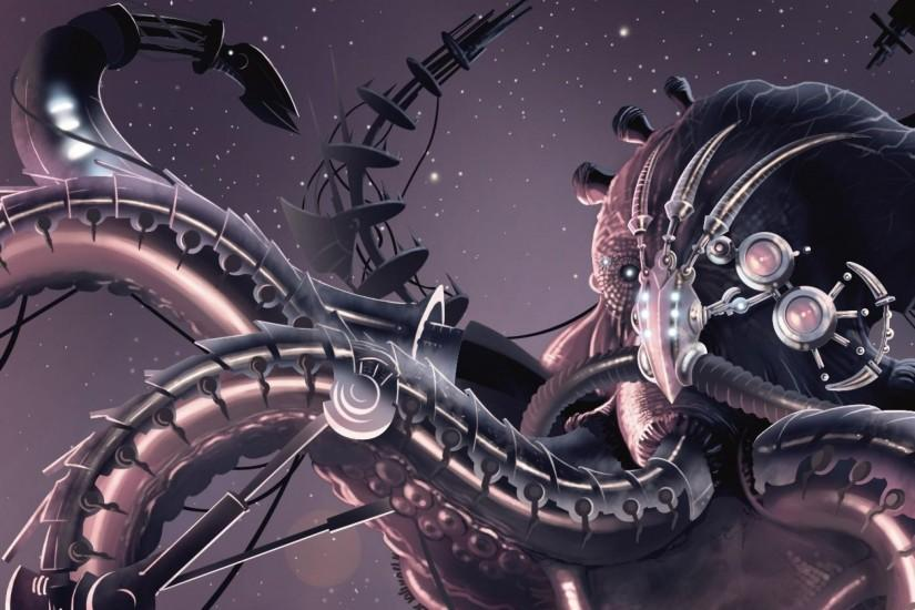 3840x1200 Wallpaper creature, octopus, robot, tentacles, space, stars