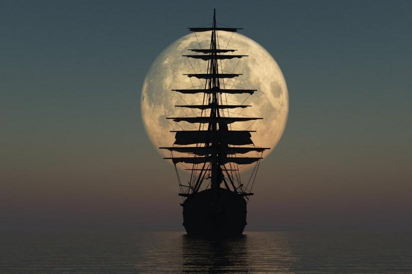 Pirate Ship Silhouette HD Wallpaper » FullHDWpp - Full HD .