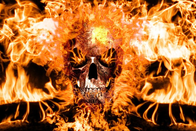 Wallpapers For 3d Fire Skull Wallpapers Source · Flaming Skulls Wallpaper  24 images on Genchi info