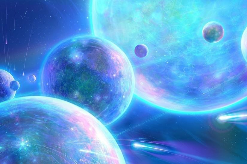 Outer Space Planets Blue 1080p Wallpaper.
