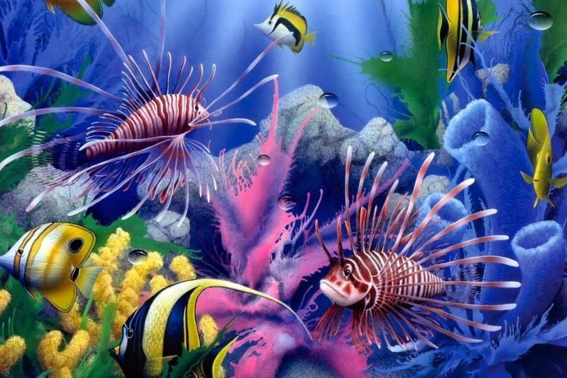 Ocean David Art Life Coral Miller Sunlight Fishes Sealife Animals Reef  Color Painting Sea Tropical Underwater Lions Red Fish Photos - 1920x1440