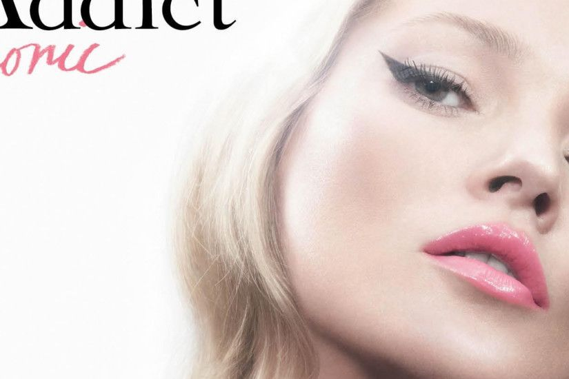 3840x1200 Wallpaper kate moss, dior addict, girl, lipstick, close-up