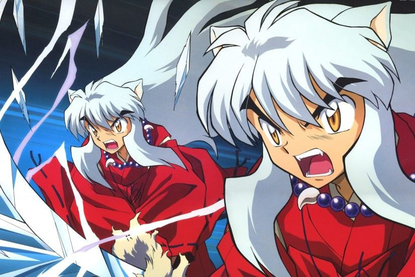 Preview wallpaper inuyasha, girl, ears, scream, kick, sword 1920x1080