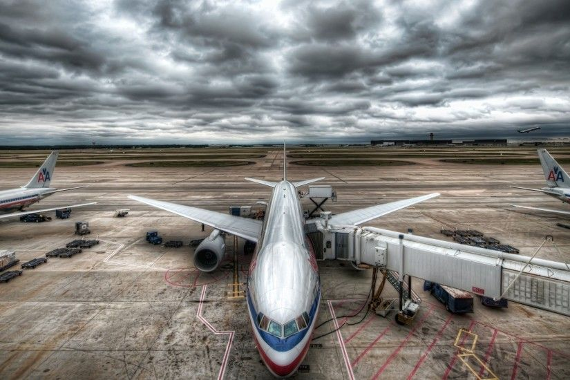 1920x1080 Wallpaper plane, sky, clouds, airport, hdr