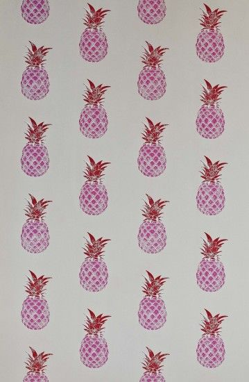 Barneby Gates Pineapple Red / Pink Wallpaper main image