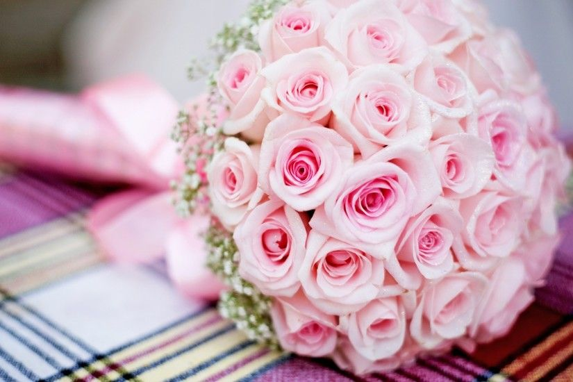 Preview wallpaper pink, bouquet, roses, wedding 1920x1080