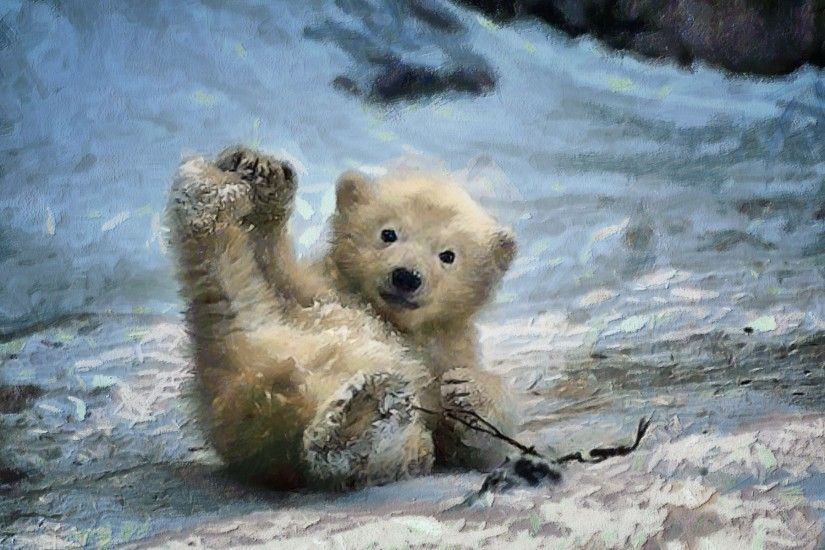 Artistic - Painting Cub Artistic Polar Bear Snow Winter Baby Animal  Wallpaper