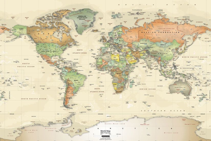 Antique Oceans World Political Map Wall Mural - Miller