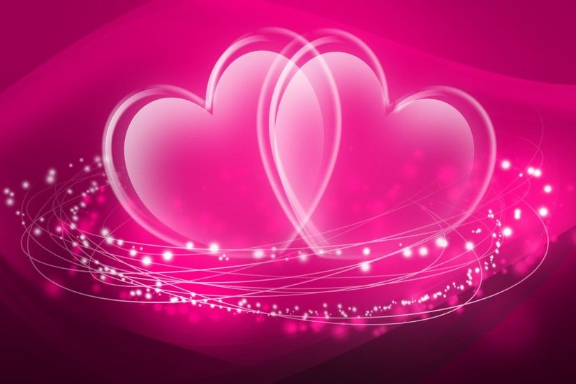 Twin Pink Heart Desktop Background Image | imagefully.com