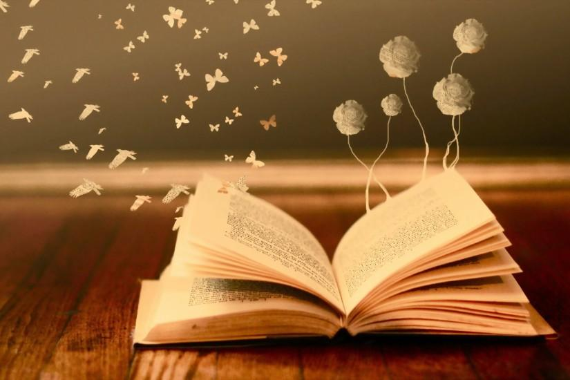 mood books read pages flowers butterfly fantasy wallpaper background .