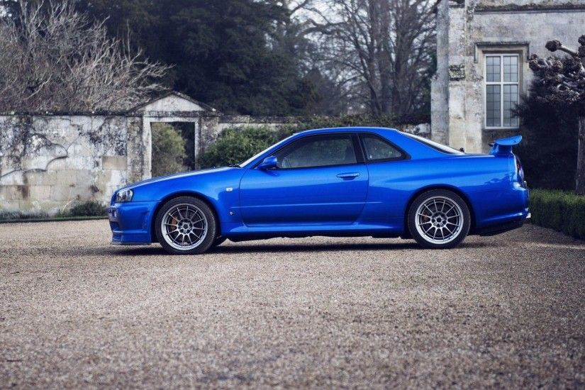 Cars parking rims blue cars Nissan Skyline GT-R r34 wallpaper .