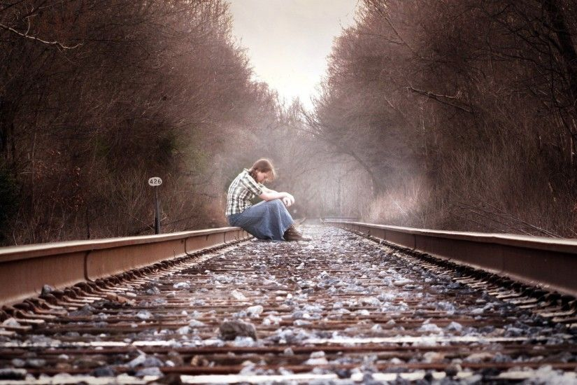 Preview wallpaper girl, railway, mood, autumn, depression 1920x1080