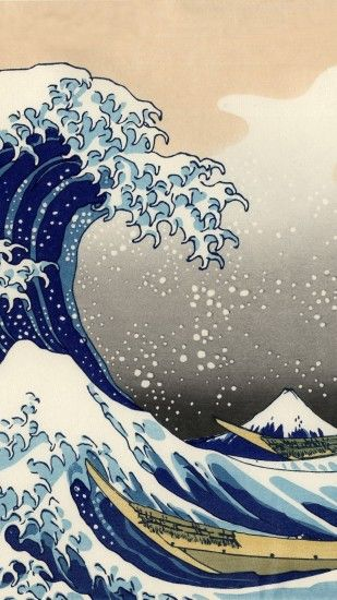 Artistic The Great Wave off Kanagawa Wave Japanese Mobile Wallpaper
