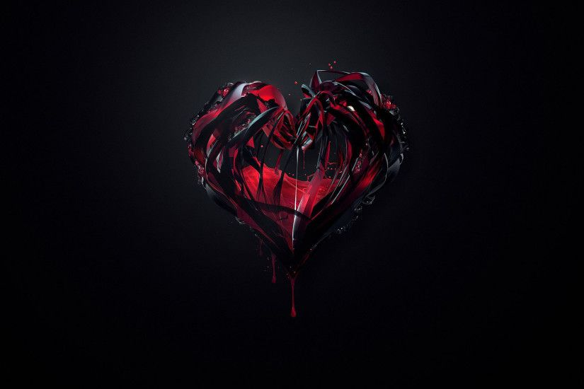 Download heart black abstract Wallpapers