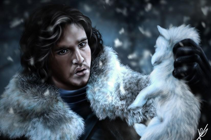 jon snow, Game of Thrones, Game of Thrones, watch, man, face, wolf,  painting, art - Magic4Walls.com