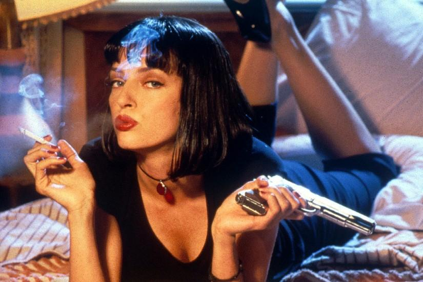 Preview wallpaper pulp fiction, girl, mia wallace, uma thurman, pistol,  smoke