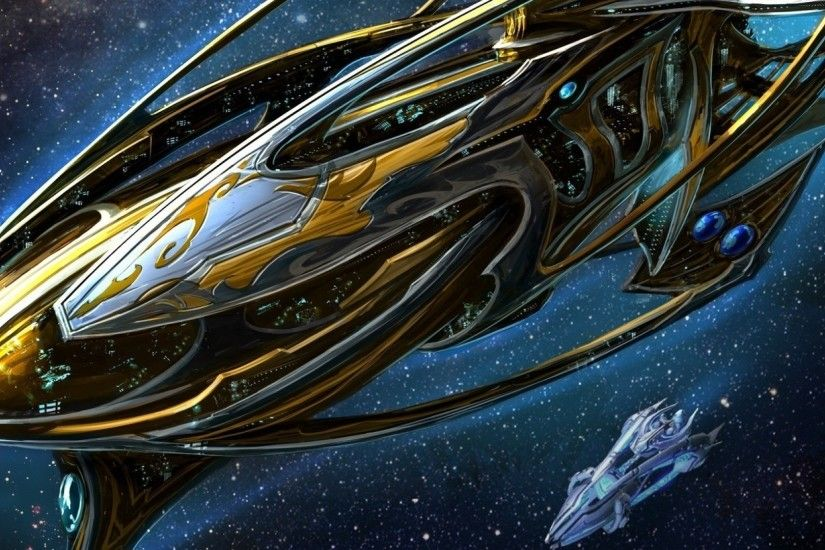 Preview wallpaper starcraft, spaceship, space, stars 2560x1080
