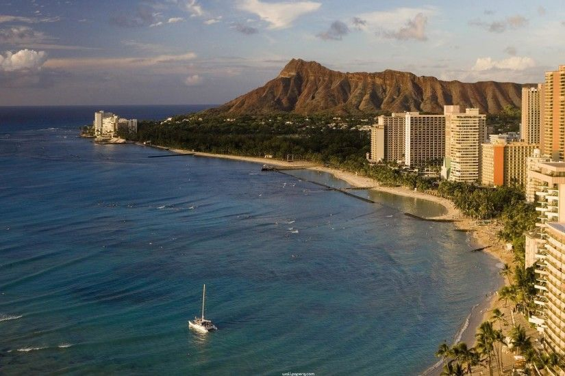"Download ""Waikiki beach honolulu oahu hd wallpaper for laptop"" wallpaper  for mobile cell phone."