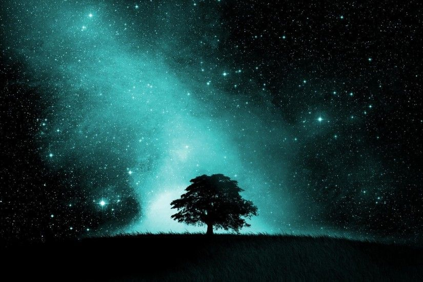 Artistic - Sky Artistic Tree Silhouette Night Starry Sky Stars Wallpaper