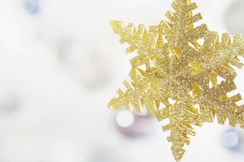 snowflake glitter gold toys close up hd wallpapers Wallpaper HD