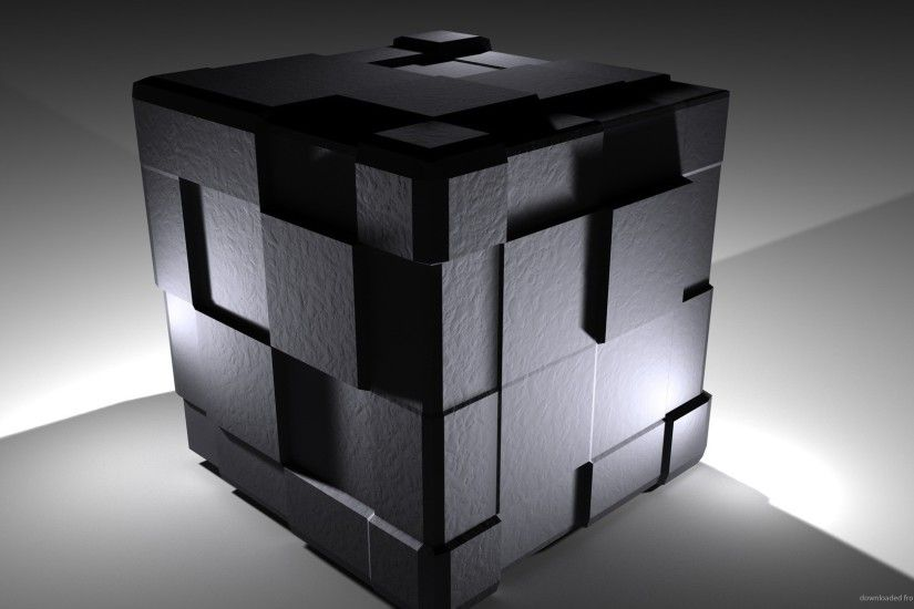 Black 3D Cube Desktop Wallpaper picture