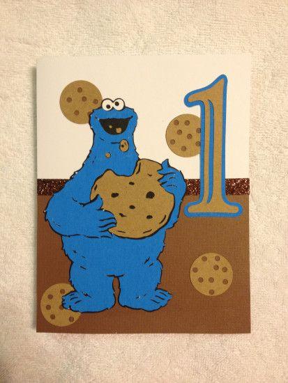 Cookie Monster 1st Birthday Card Made Using The Sesame Street Cricut Cartridge