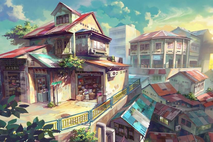 city, House, Anime, Malaysia Wallpaper HD