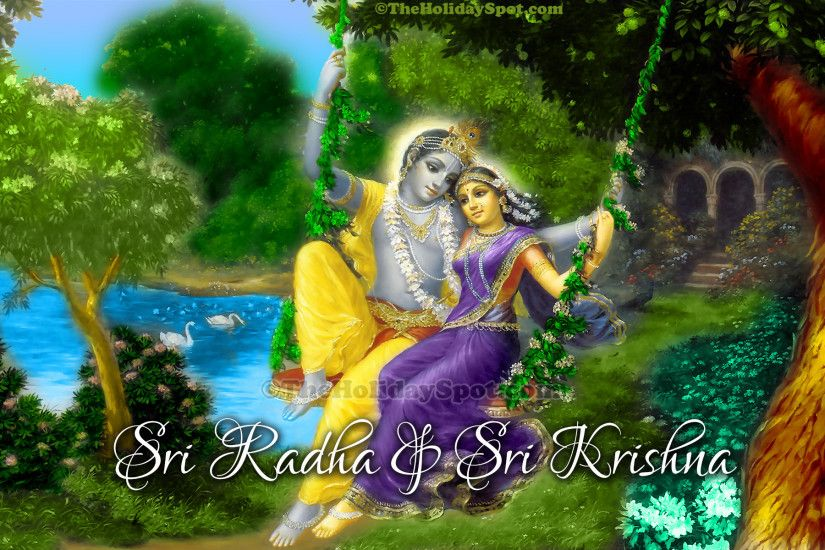 High Difination Janmashtami wallpapers featuring Lord Krishna and Radha.