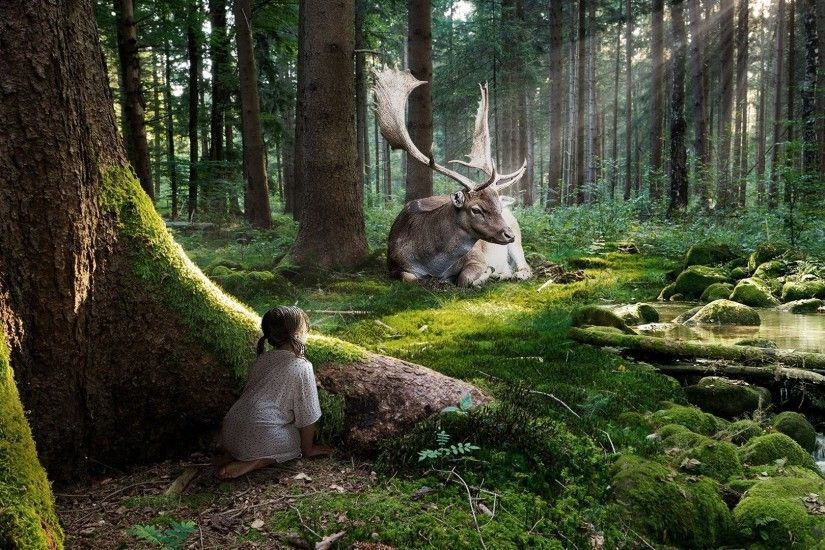 Artistic - Fantasy Artistic Little Girl Forest Moose Sunshine Tree Green  Wallpaper