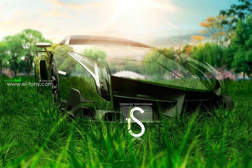 Lamborghini Veneno Crystal Car Nature Green Grass HD