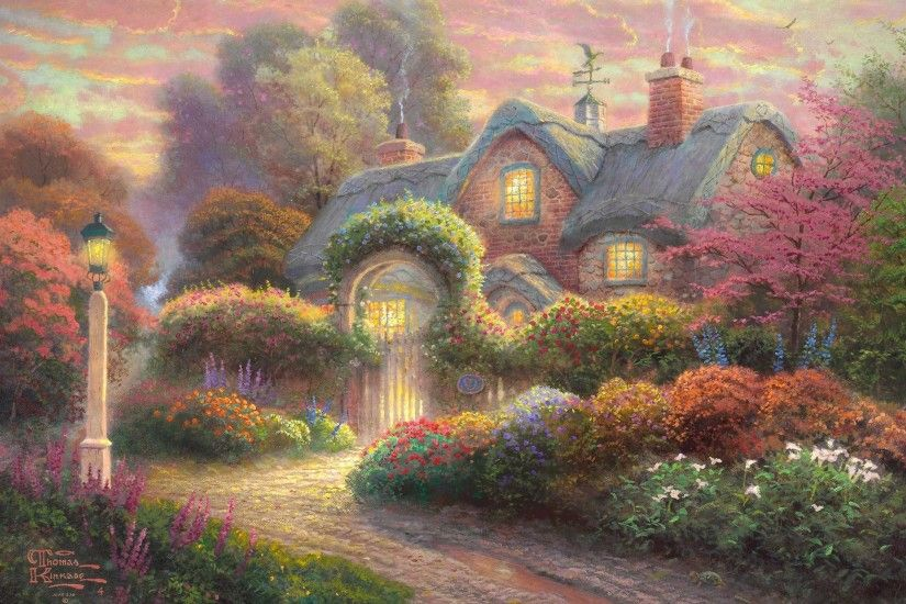 Thomas Kinkade, Painting, Flowers, Rosebud Cottage, Cottage, Thomas Kinkade