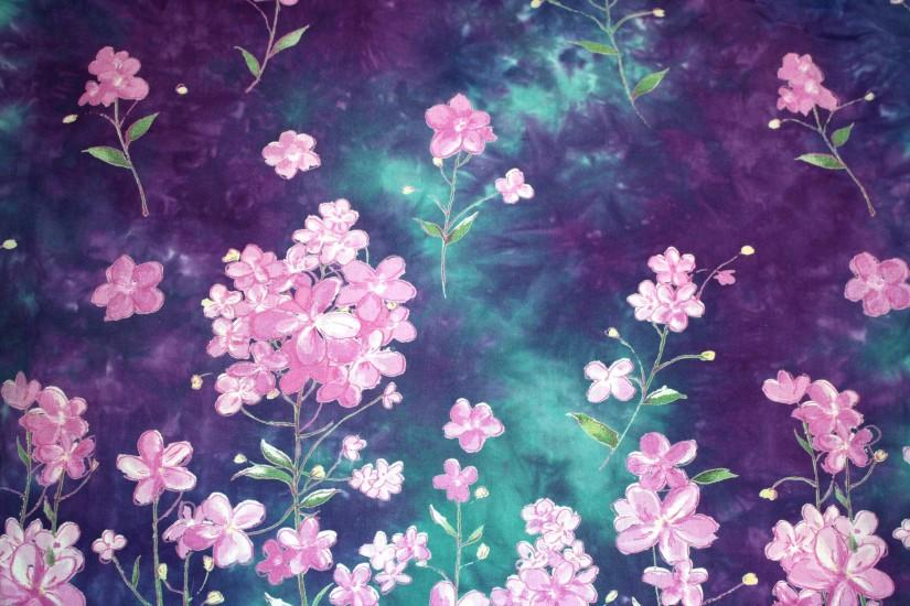 Purple and Green Batik Fabric Texture with Flowers Picture | Free .