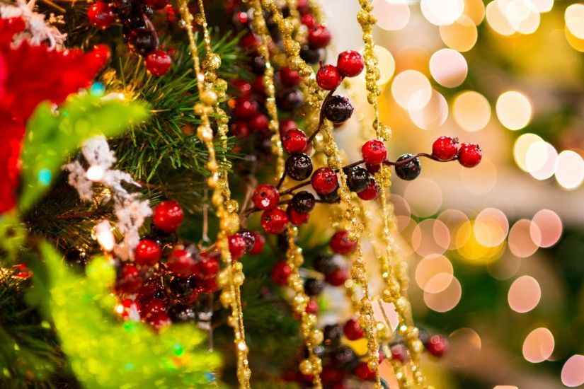 branch holly holly christmas tree spruce toys christmas beads gold  decoration tinsel holiday new year christmas