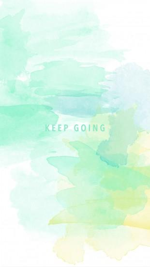 Mint green yellow watercolor Keep Going phone wallpaper phone background