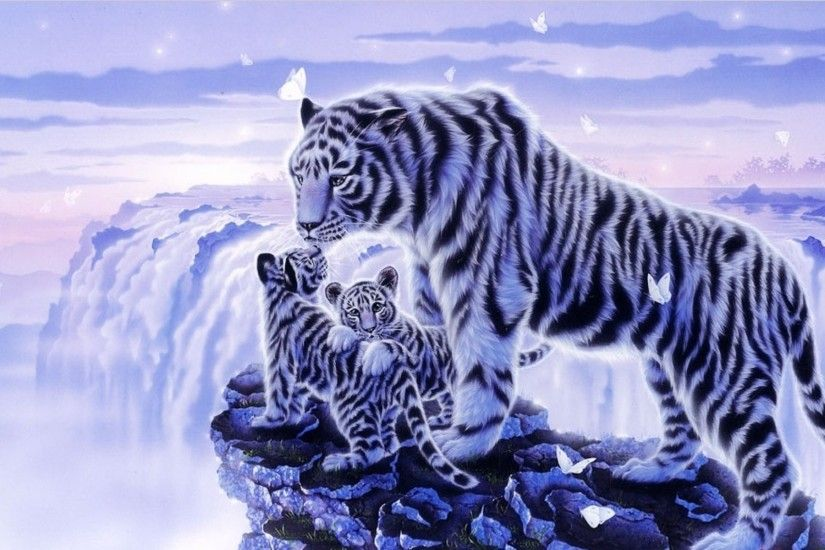 Fantasy - Tiger Artistic Fantasy White Tiger Cub Snow Baby Animal Wallpaper