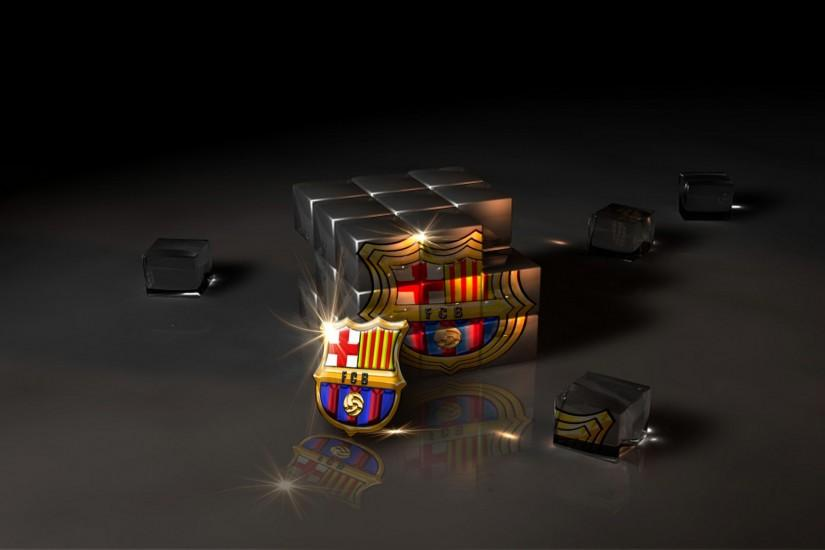 3D Cube FC Barcelona Logo Wallpaper High Resolution.