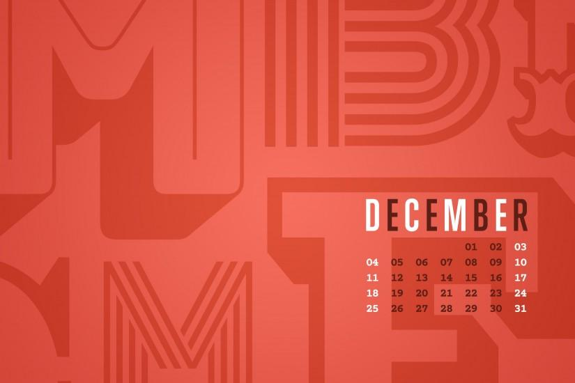 December 2016 Desktop Calendar Wallpaper