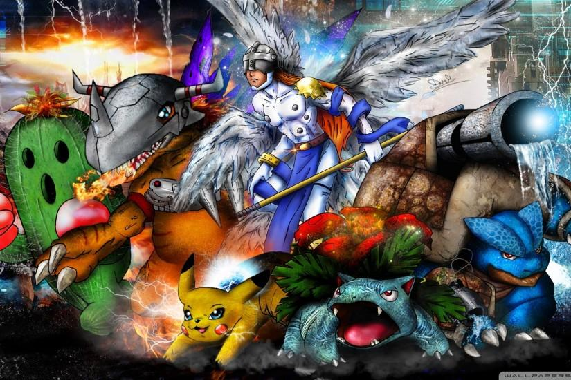 Anime - Crossover Digimon Pokémon Wallpaper