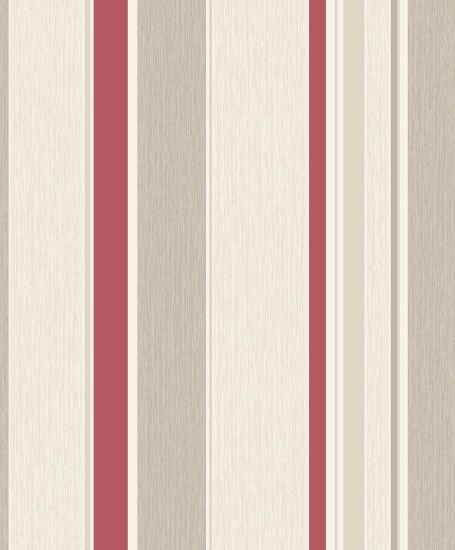 Rasch Dahlia Stripe Textured Wallpaper – 319927 – Beige/Red