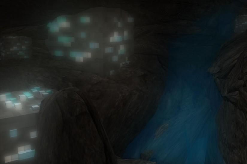 Working on a 3D Minecraft cave background made in Maya.