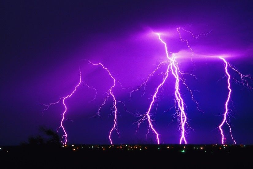 Purple Lightning Wallpaper HD