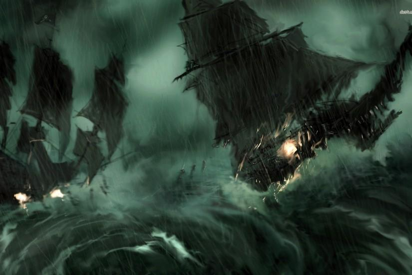 Pirate Ship During The Storm Wallpaper 680847