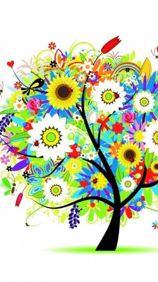 HD colorful flowers tree drawing iphone 6 wallpaper