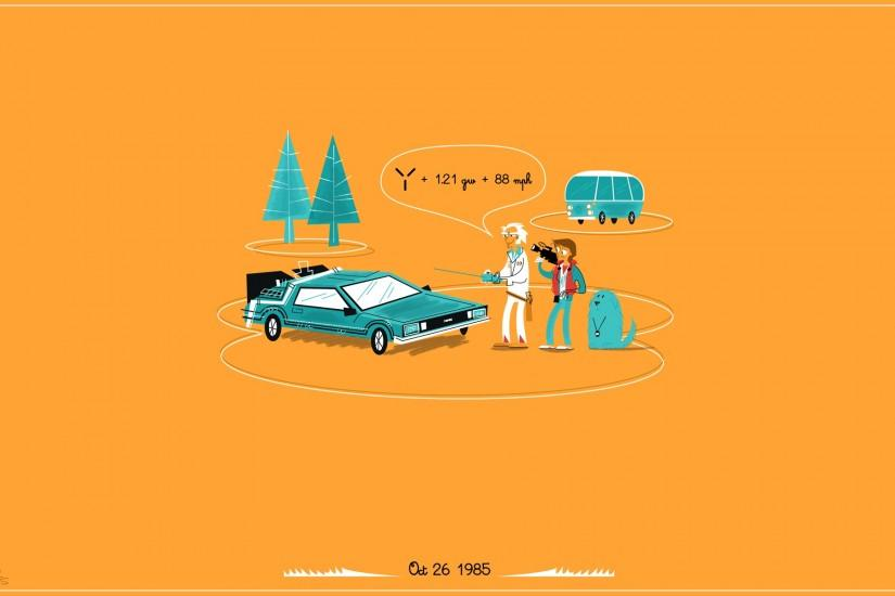 Back to the Future DMC DeLorean Orange wallpaper background