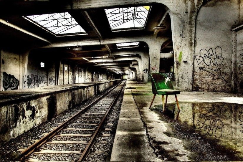 Abandoned subway station hdr wallpaper