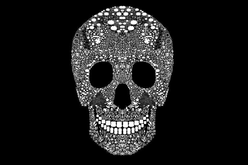1920x1080 Black And White Skull Wallpaper - HD Wallpapers Pretty